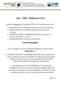 Baldassari Cavi News: AICE – IMQ – BALDASSARI CAVI